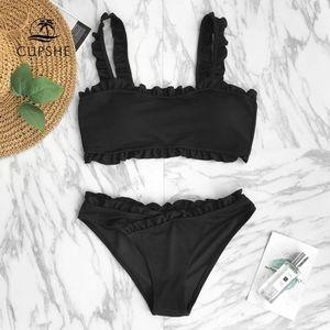 Cupshe Swim Black Two Piece Ruffle Bikini